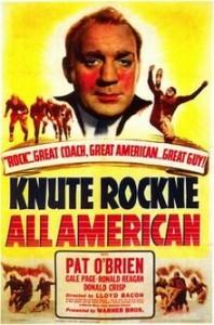 Knute Rockne, All American movie poster (Warner Bros., 1940)