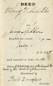 Frederick Douglas served as the Recorder of Deeds for D.C., 1881-1885, and signed and recorded the transfer of the property on which CUA is currently located, then called 'Turkey Thicket,' from Walter Perry, and Ellen and Mary Middleton to James Gibbons. (CUA Archives)