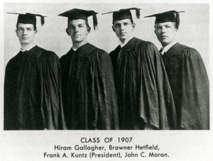 Portrait of Law School's Class of 1907.  Hiram Gallagher, Brawner Hefeld, Frank A Kuntz (President), John C. Moran