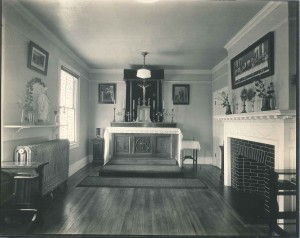 """The Chapel – Miss Margot's House,"" ca. 1920. Note this is not inside Theodoron, which Margot donated to Hyvernat to use as the Institute of Christian Oriental Research, but in her second Brookland home, Villa Maria (Antoinette Margot Papers, CUA Archives)"