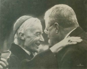 Cardinal Gibbons and ex-President Theodore Roosevelt with warm greetings for each other in 1918. (CUA Archives)