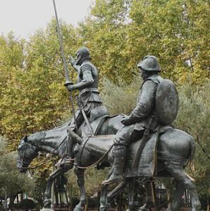 Don Quixote and Sancho Panza 3 .Madrid. Detail of Monumento a Miguel de Cervantes by Kullo-Valera (1876 - 1932) by Vitold Muratov