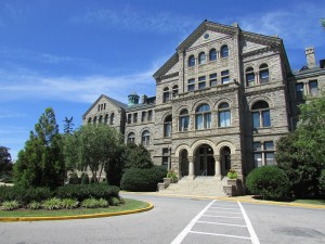 McMahon Hall, home of both the Table and the Leo Statue, Photo, Angela Geosits, 8-13-2015.