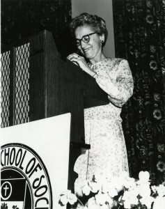 Dr. Dorothy Abts Mohler taking part in the commemoration of the 60th anniversary of the National Catholic School of Social Service (NCSSS), 1978. CUA Photograph Collection.
