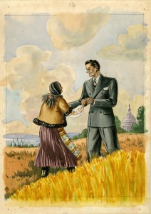 An unknown color print, probably from the 1920s, depicting a prosperous American citizen welcoming a poor immigrant woman from Eastern Europe. It is not difficult to image Bruce Mohler in the role of the welcoming American. Bruce M. Mohler Papers, ACUA.