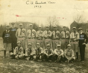 1913 CUA baseball team. Pipp is in the back row, third from left.