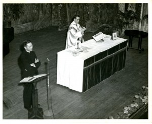 Rev. Frederick R. McManus performing a Television Age Mass, 1960s, McManus Papers, ACUA.