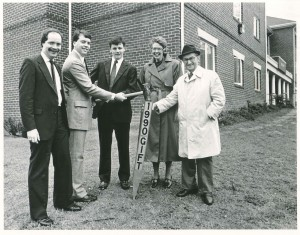 Edward J. Pryzbyla, far right, at one of his many tree-plantings on the CUA campus, 1990.