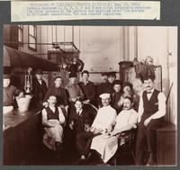 Immigrants, both detailed aliens and regular employees, working in an Ellis Island kitchen, Dec. 18, 1901. T.V. Powderly Papers, The Catholic University of America (CUA).