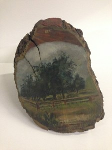 Painted pear tree stump from Mission San Rafael