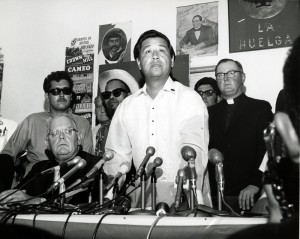 "Just call him ""The Translator."" Higgins knew how to talk labor in public. Here he is, on the right, at a press conference with Cesar Chavez and others involved in the California farm worker unionization effort in the 1960s."