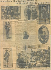 Contemporary newspaper depicting the people and events of the Anthracite Coal Strike, 1902. John Mitchell Papers, American Catholic History Research Center and University Archives.