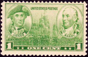 America's first naval heroes, Fighting Celts of the Sea, Scottish-born John Paul Jones and Irish-born John Barry, U.S. Postage Stamp, 1 cent, December 15, 1936