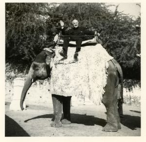 Riding an elephant in India, 1978.