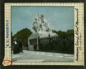 """American Group, Albert Memorial, London"" Lantern Slide #817"