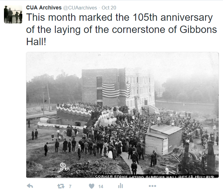 Showcase anniversaries and other dates important to your institution. Twitter post from @CUAarchives