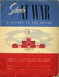 """""""Schools At War: A Report to the Nation"""" was a report that schools around the country filed with the Office of Education and the Wartime Commission during the war. This is the cover of St. Rose's 1943 submission."""