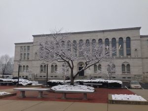 Mullen Library in the snow.