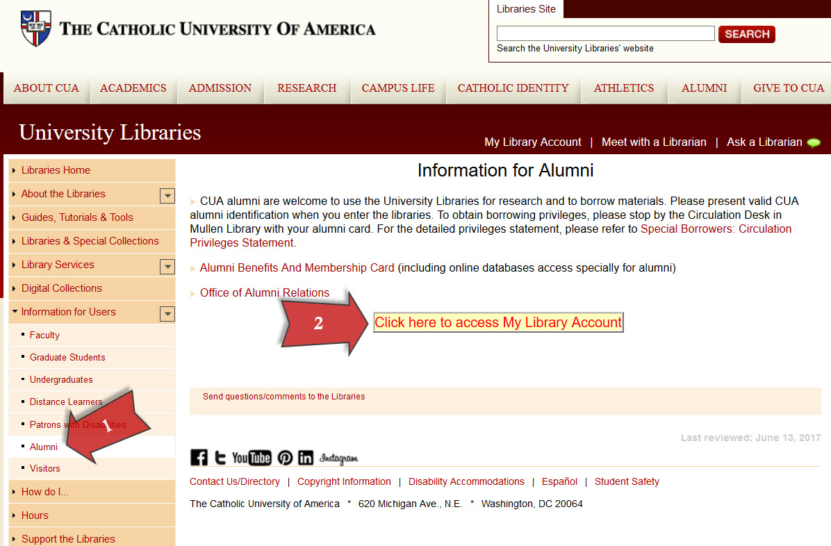 Alumni access to My Library Account