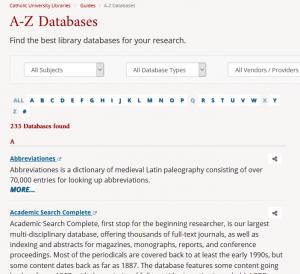 Catholic University's A-Z Databases page