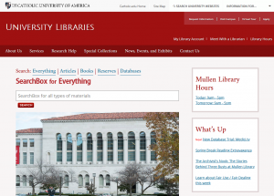 """University Libraries Homepage - Try the """"SeachBox for Everything"""""""