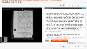 Screenshot from Freedmen's Bureau transcription.