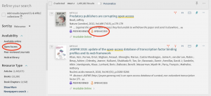 Screen shot of Open Access filter button in SearchBox