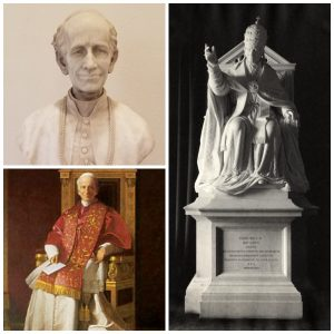 Collage of three images of Pope Leo XIII from the University's museum collection