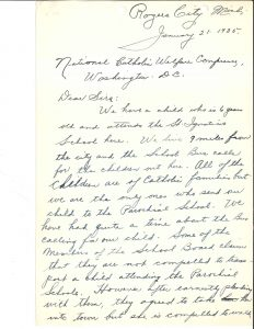 Handwritten letter dated January 21, 1935 from Mrs. H. C. Schmidt of Rogers City, Michigan to the NCWC regarding her six-year-old daughter who must walk a mile to and from her parochial school to catch the bus at the public school.